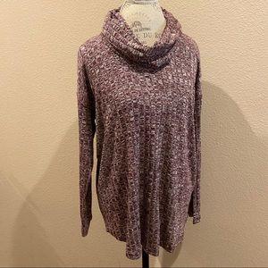 Sunday Dress Barn sz large cowl neck maroon shirt